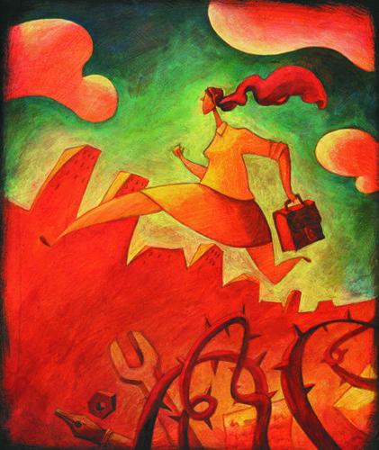 Ilustración de una mujer con maletín saltando sobre espinas, papeles y lápices.