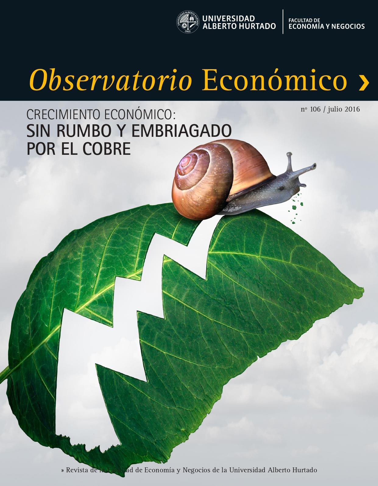 """Título del número de la revista : """"Crecimiento económico : Sin rumbo y embriagado por el cobre"""""""