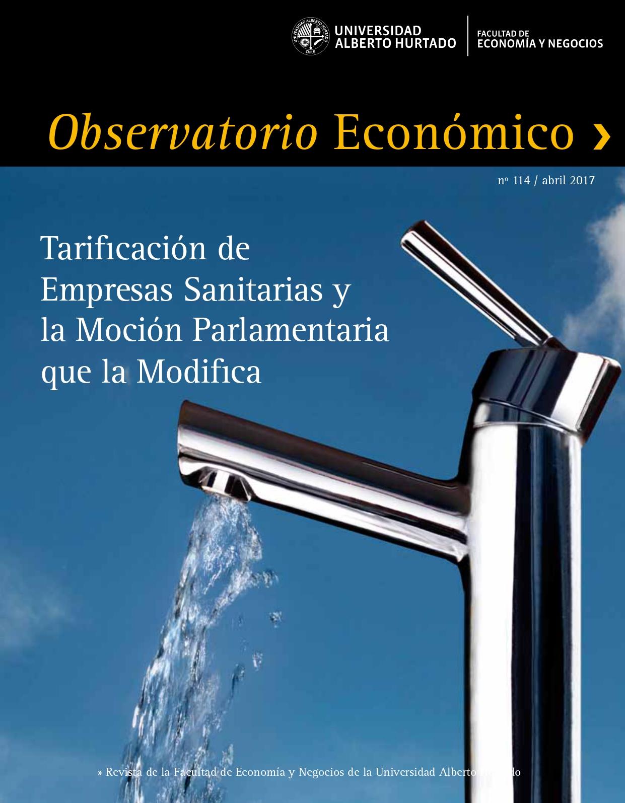 """Título del número de la revista : """"Tarifación de Empresas Sanitarias y la Moción Parlamentaria que la Modifica"""""""